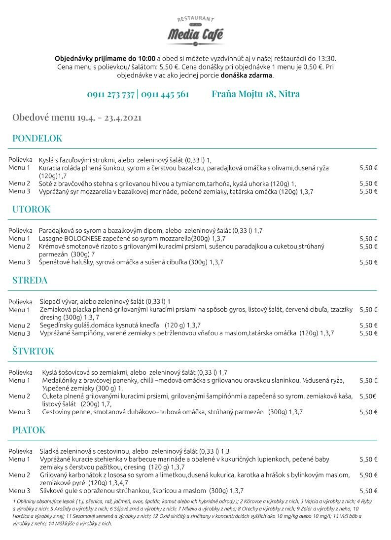 obedove menu media cafe nitra donaska